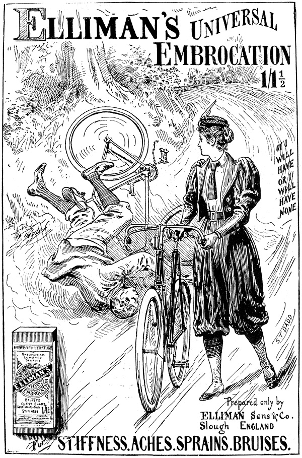 Poster from 1895 showing a woman on a safety bicycle in rational dress